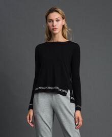 Pullover aus Seide und Kaschmir mit Logos Schwarz Frau 192TP3151-03