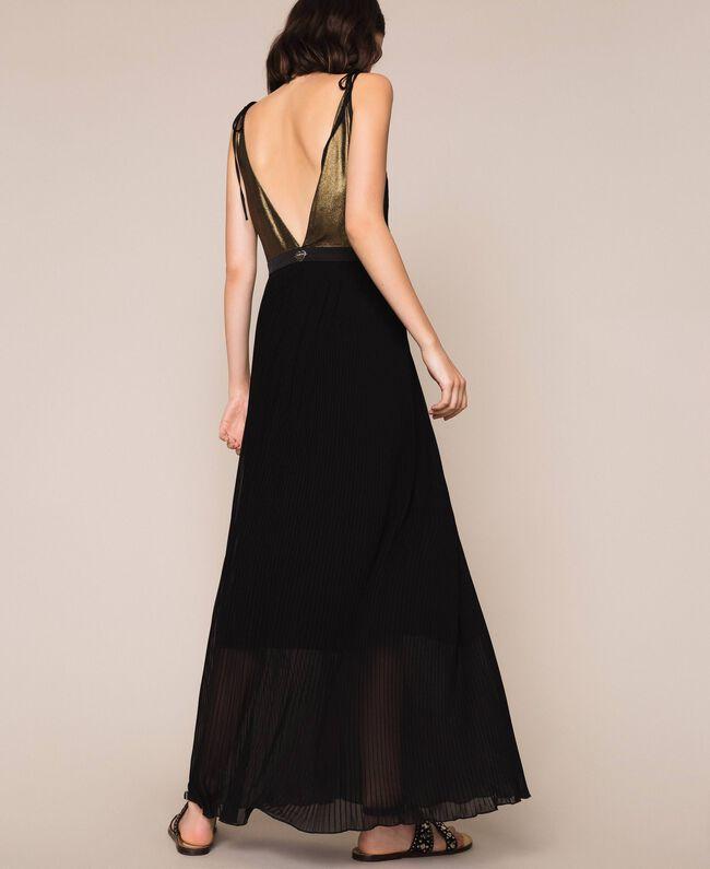 Длинное платье с плиссированной юбкой Черный женщина 201LB22GG-03