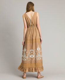 "Voile long dress with broderie anglaise embroidery Two-tone ""Savannah"" Beige / Ecru Woman 191ST2114-03"