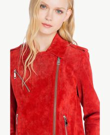 Suede biker jacket Vermilion Red Woman JS82AA-04
