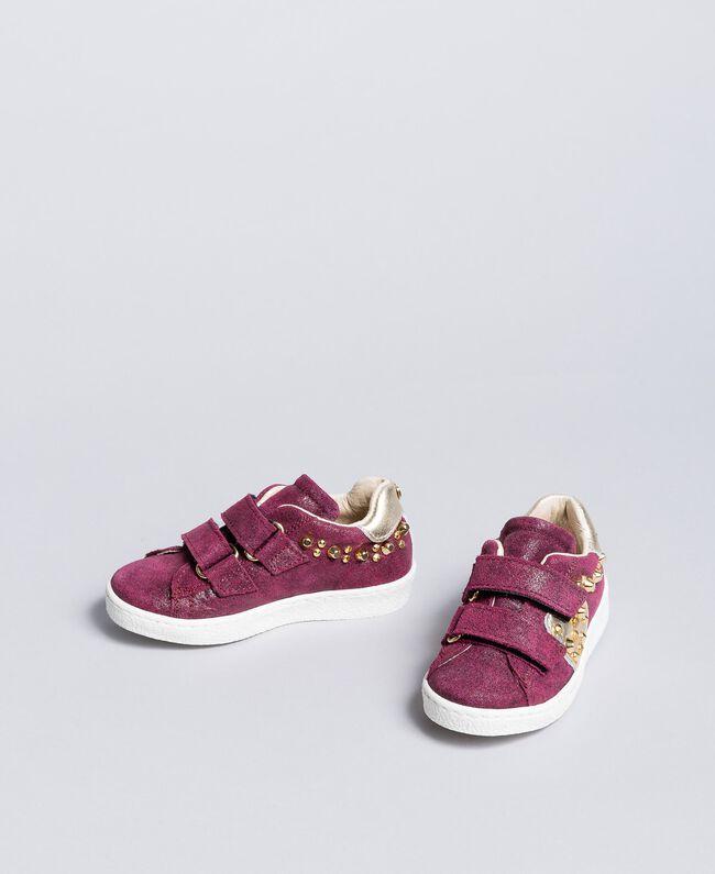 Baskets en cuir velours avec rivets Violet Raisin Doux Enfant HA86BQ-01