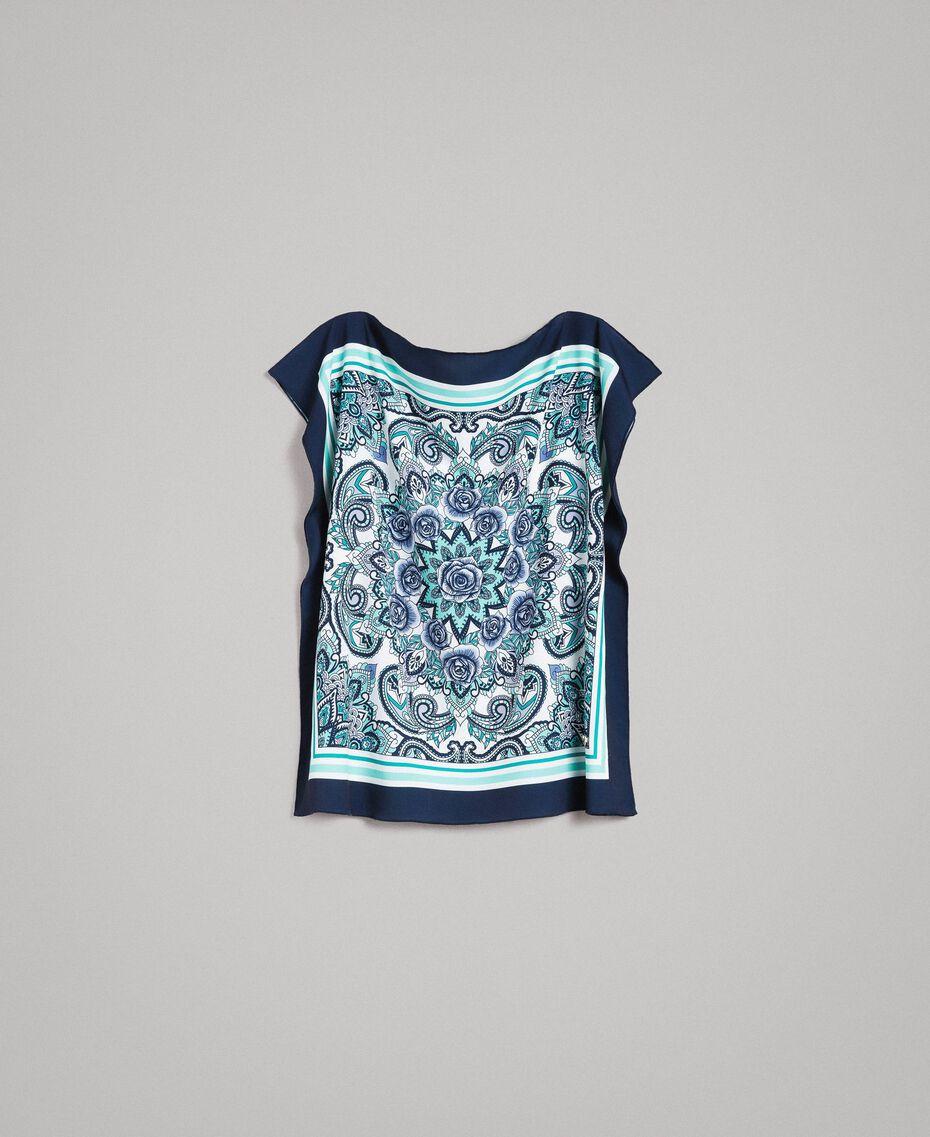 Blouse en crêpe de Chine à imprimé écharpe Imprimé Foulard Dressing Bleu Nuit Femme 191MT2122-0S