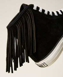 Leather trainers with fringes Black Woman 212TCP100-05
