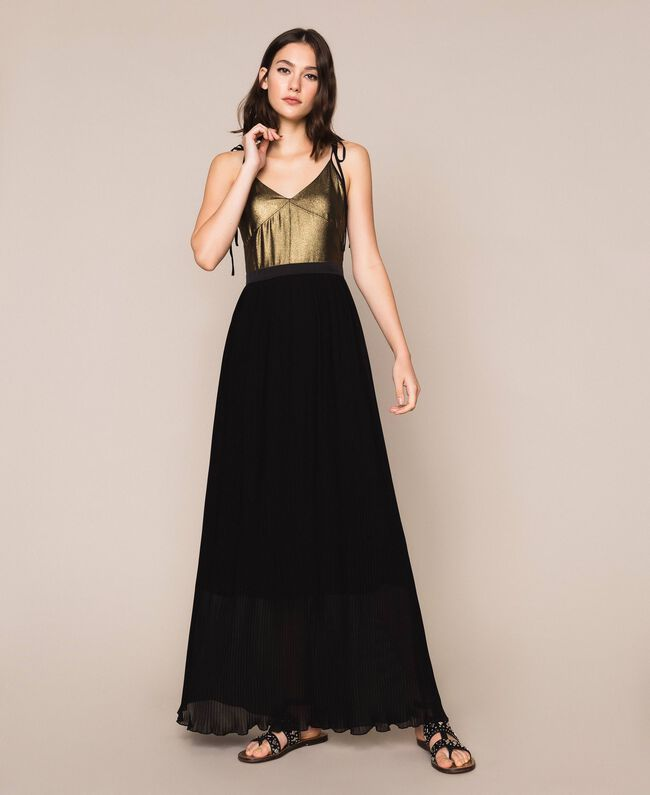 Длинное платье с плиссированной юбкой Черный женщина 201LB22GG-01
