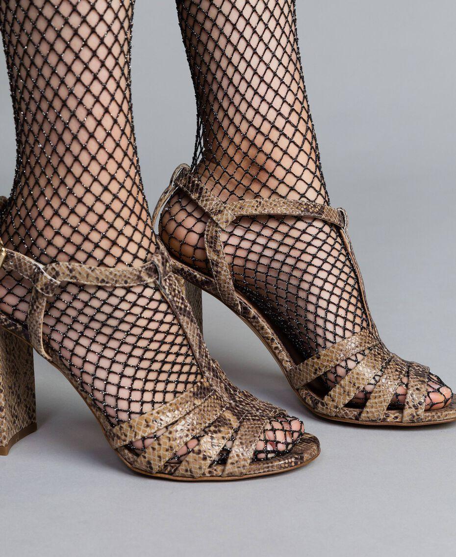 "Sandalias de piel animal print Marrón ""Pitón Roca"" Mujer CA8PQ3-0S"