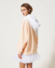 Maxisudadera color block con estampado Bicolor Blanco «Óptico» / Rosa «Light Apricot» Mujer 211MT2450-06