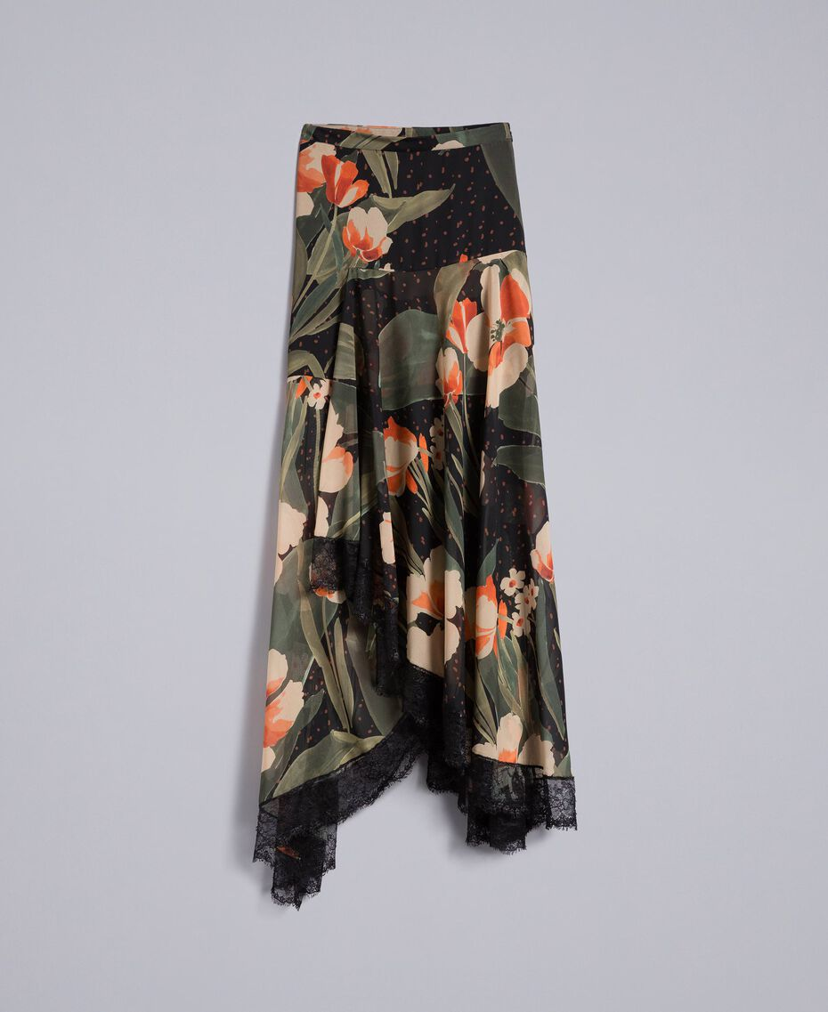 Длинная юбка из шифона с набивным цветочным рисунком Набивной Черный Крупный Тюльпан женщина TA825V-0S