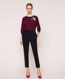 Pantalon ajusté avec poches Bleu Nuit Femme 201TP2511-01
