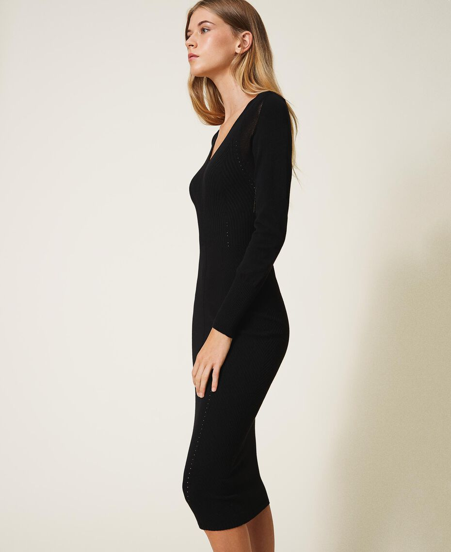 Vestido de tubo de punto Negro Mujer 202TT3120-02