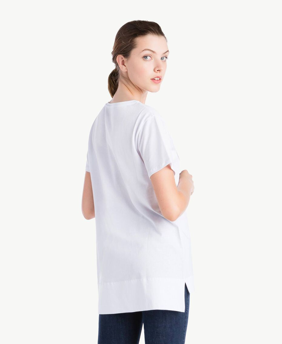 T-Shirt mit Herzprint Weiß Frau NS82AP-03