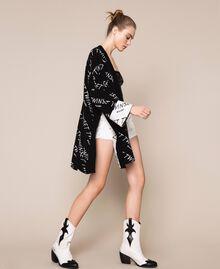 Cardigan jacquard avec logo Bicolore Noir / Blanc Neige Femme 201TP3130-0T