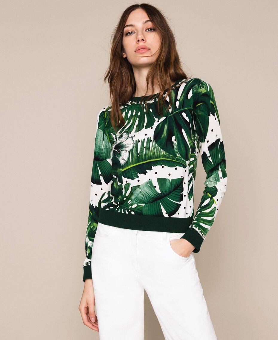 Джемпер с принтом и вышивкой Принт Тропический Горошек Зеленый женщина 201TP3266-02