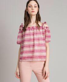 """Bluse mit Lurexstreifen und Schleifchen Streifen Multicolour Pink / """"Tangerine Cream"""" Pink Frau 191LB2AKK-02"""