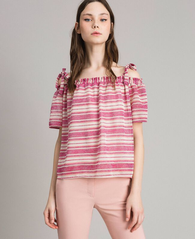 803b1e20f45a07 Lurex striped blouse with bows Pink /