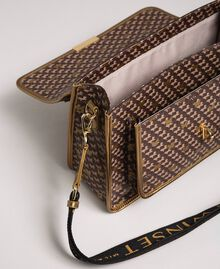 Printed faux leather shoulder bag Dark Gold Butterfly Print Woman 192TO801K-04