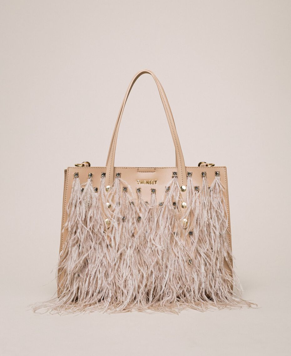 Faux leather shopper with rhinestones and feathers Beige Cremino Woman 201TA7190-02