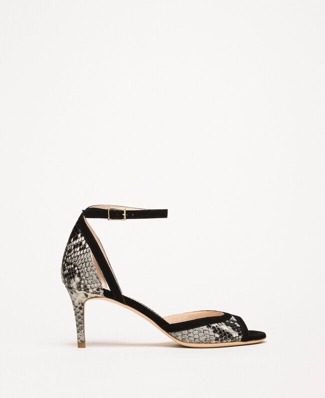 Leather sandals with python print Two-tone Pale Rock Python Print / Black Woman 201TCP022-01