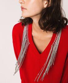 Robe décorée de franges en strass Rouge «Lave» Femme 201TP3080-04