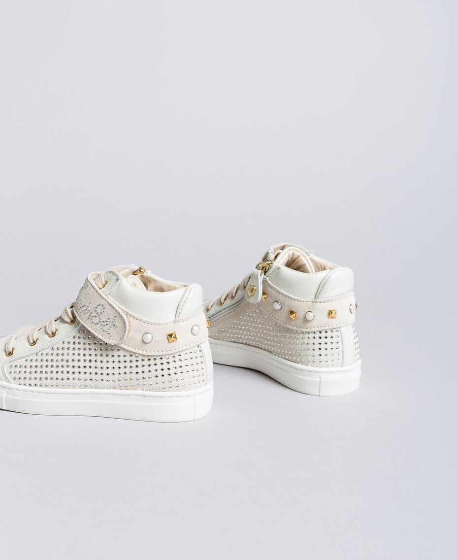Sneakers in pelle e strass Off White Bambina HA86DA-03