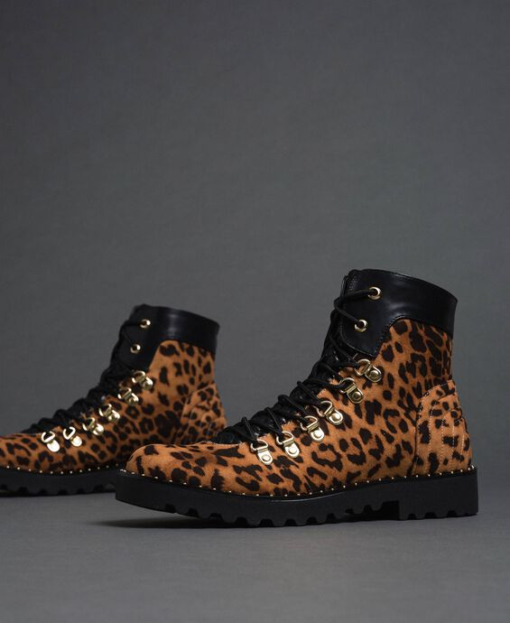 Bottines motardes avec imprimé animalier