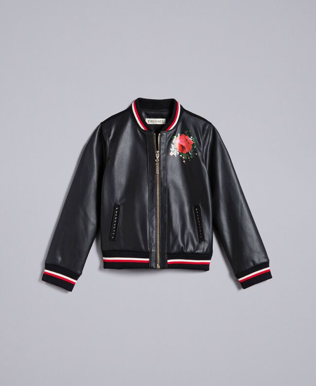 "Embroidered faux leather jacket Bicolour Black / ""Poppy"" Red Child GA82B1-01"