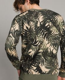 "Crêpe cotton printed jumper All Over ""Palms"" Camouflage Print Man 191UT3060-03"