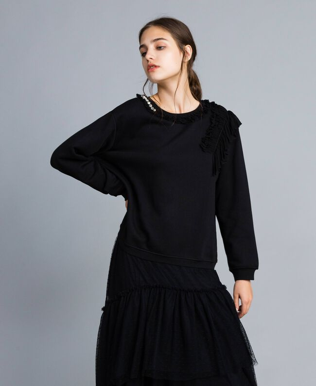 Cotton sweatshirt with georgette inserts Black Woman PA82CB-01