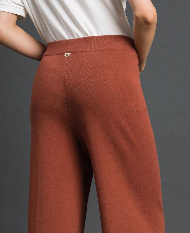 """Knit palazzo trousers """"Chic-ness"""" Brown Woman 192LI3NFF-04"""