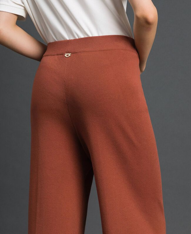 Pantalon palazzo en maille Marron «Chicness» Femme 192LI3NFF-04