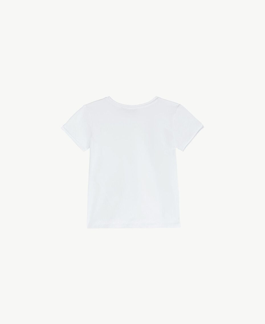 "Cotton T-shirt ""Papers"" White Child FS82BA-02"