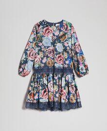 Crêpe dress with floral and graffiti print Graffiti Print Child 192GJ2491-0S