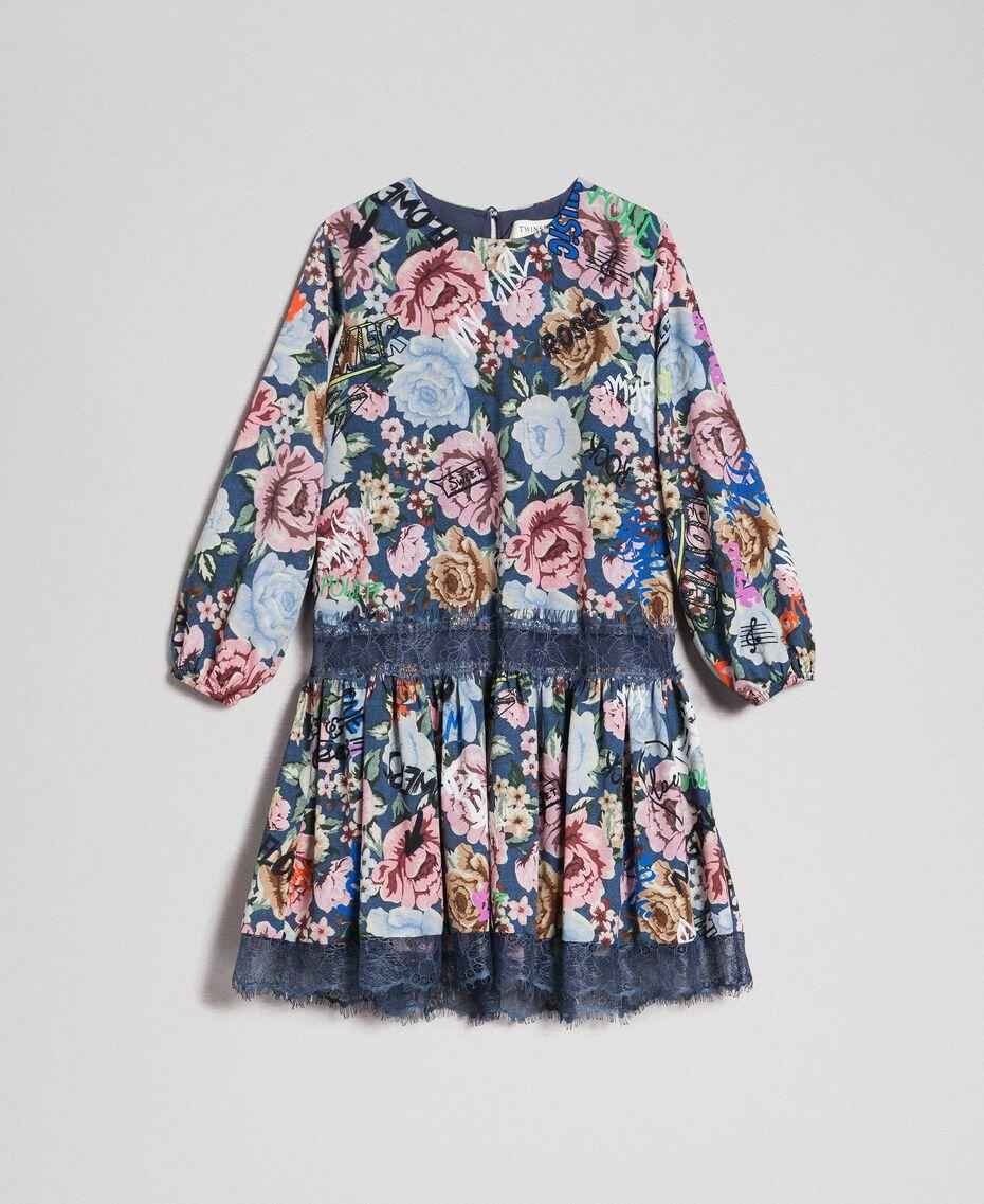 Robe en crêpe avec imprimé floral et graffiti Imprimé Graffiti Enfant 192GJ2491-0S