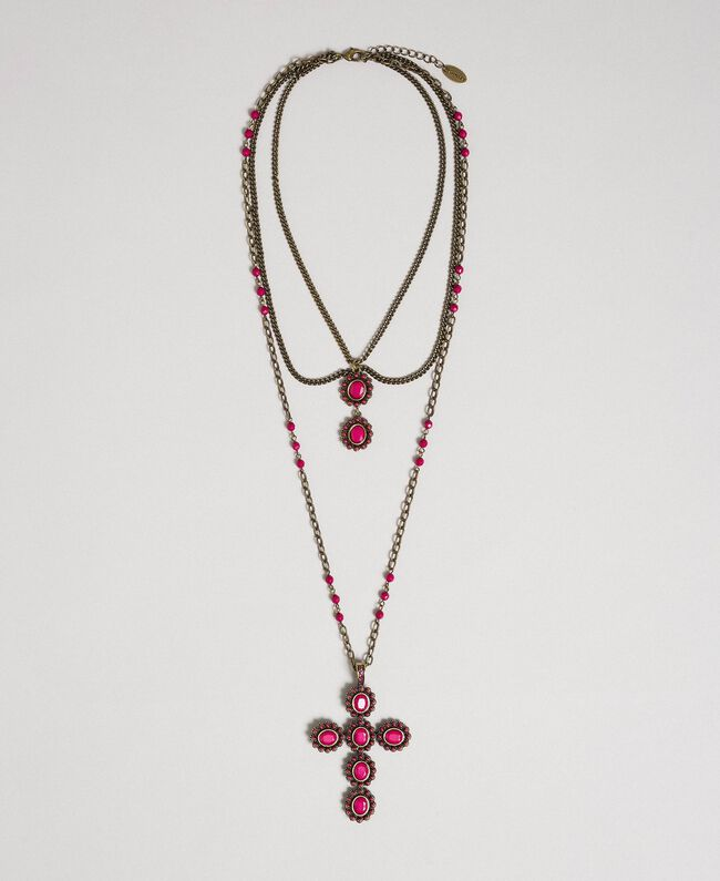 Rosary necklace with mixed chains and stones Beet Red Woman 192TA436H-01