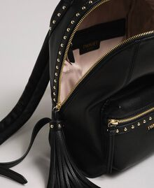 Faux leather backpack with studs Black Woman 192TO8165-05