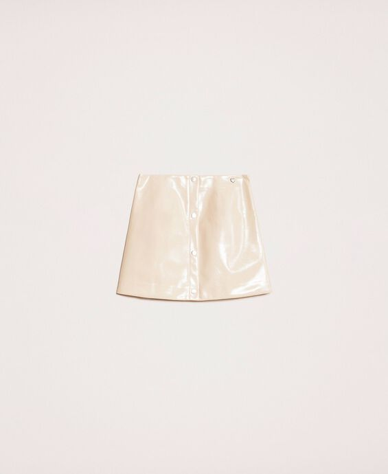 Glossy faux leather mini skirt