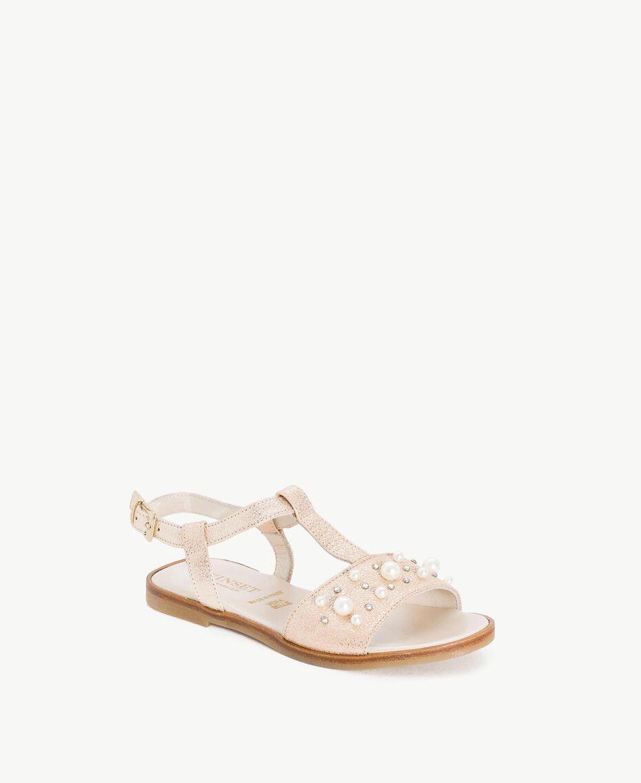 Sandale mit Perlen Platin Kind HS88EQ-02