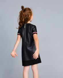 "Embroidered faux leather mini dress Bicolour Black / ""Poppy"" Red Child GA82B2-03"