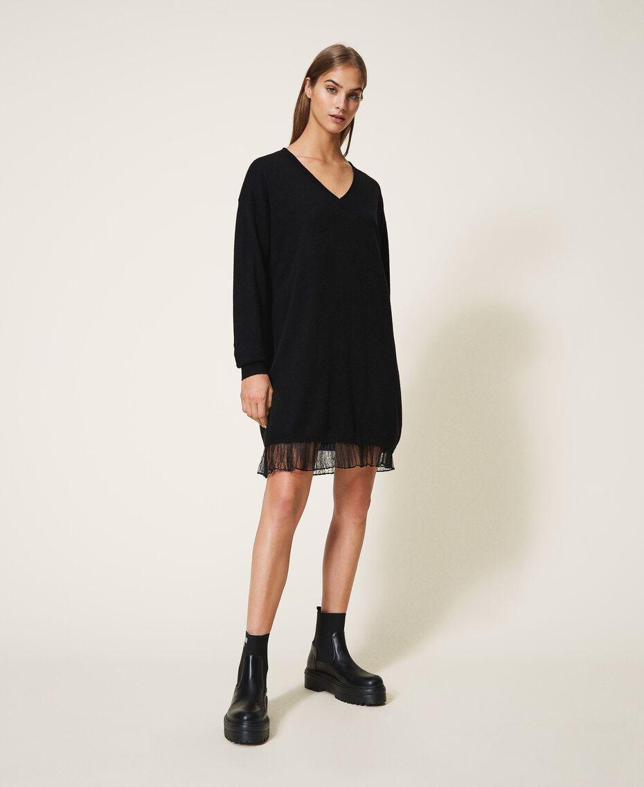 Vestido de lana mixta con plisados Bicolor Beige «Duna» / Blanco Nata Mujer 202MP3091-01