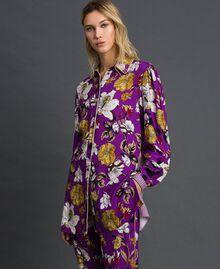 Chemise longue avec imprimé floral Imprimé Fleurs d'Automne Violet Femme 192ST2223-02