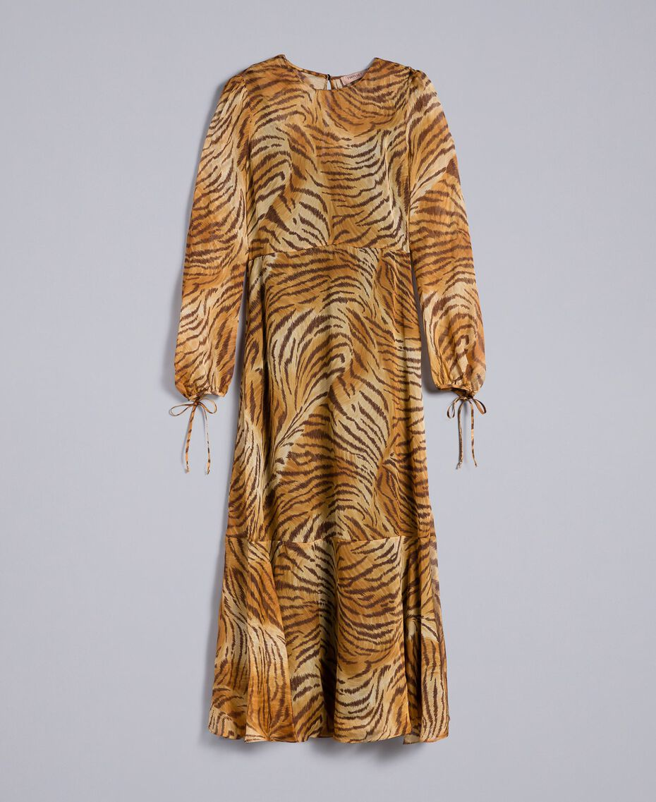 Long printed silk dress Tiger Print Woman TA8254-0S