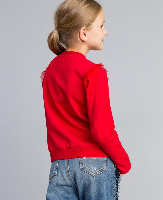 Jersey sweatshirt with pearls and tulle Poppy Red Child GA82U2-03