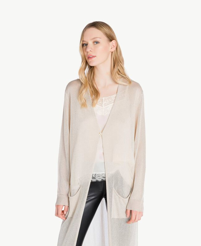 Long lurex cardigan Platinum Lurex Woman PS83ZD-04