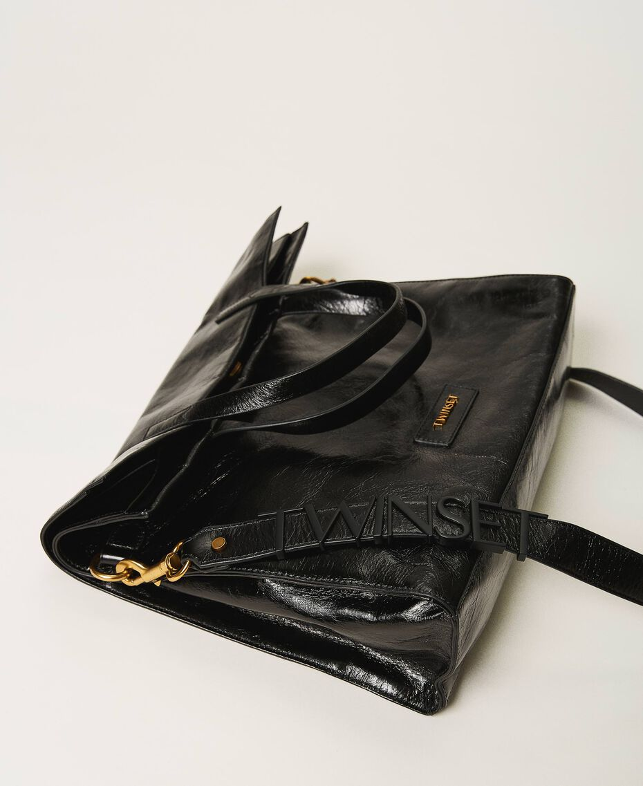 Foldable Twinset Bag leather shopper Black Woman 202TB7099-02