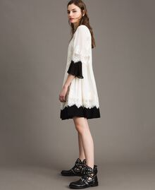 "Georgette dress with lace Bicolour ""Snow"" White / Black Woman 191TT2102-03"