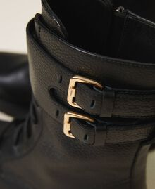 Combat boots with double buckle Black Woman 202TCT112-02