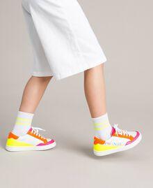 Striped cotton socks Two-tone Optical White / Neon Yellow Child 191GJ4922-0S