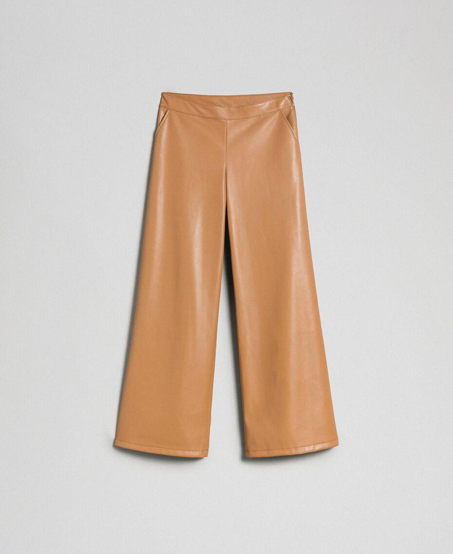"Faux leather palazzo trousers ""Camel Skin"" Beige Woman 192LI2ECC-0S"