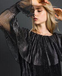 Blouse en tulle crépon métallique Noir / Argent Femme 192MT2142-01