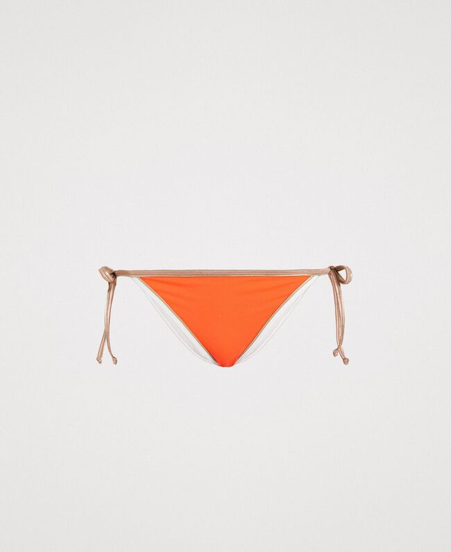 "Brazilian bikini bottom with contrasting trims Multicolour ""Orange Juice"" / ""Milkyway"" Beige / ""Petra Sandstone"" Brown Woman 191LMMH88-01"