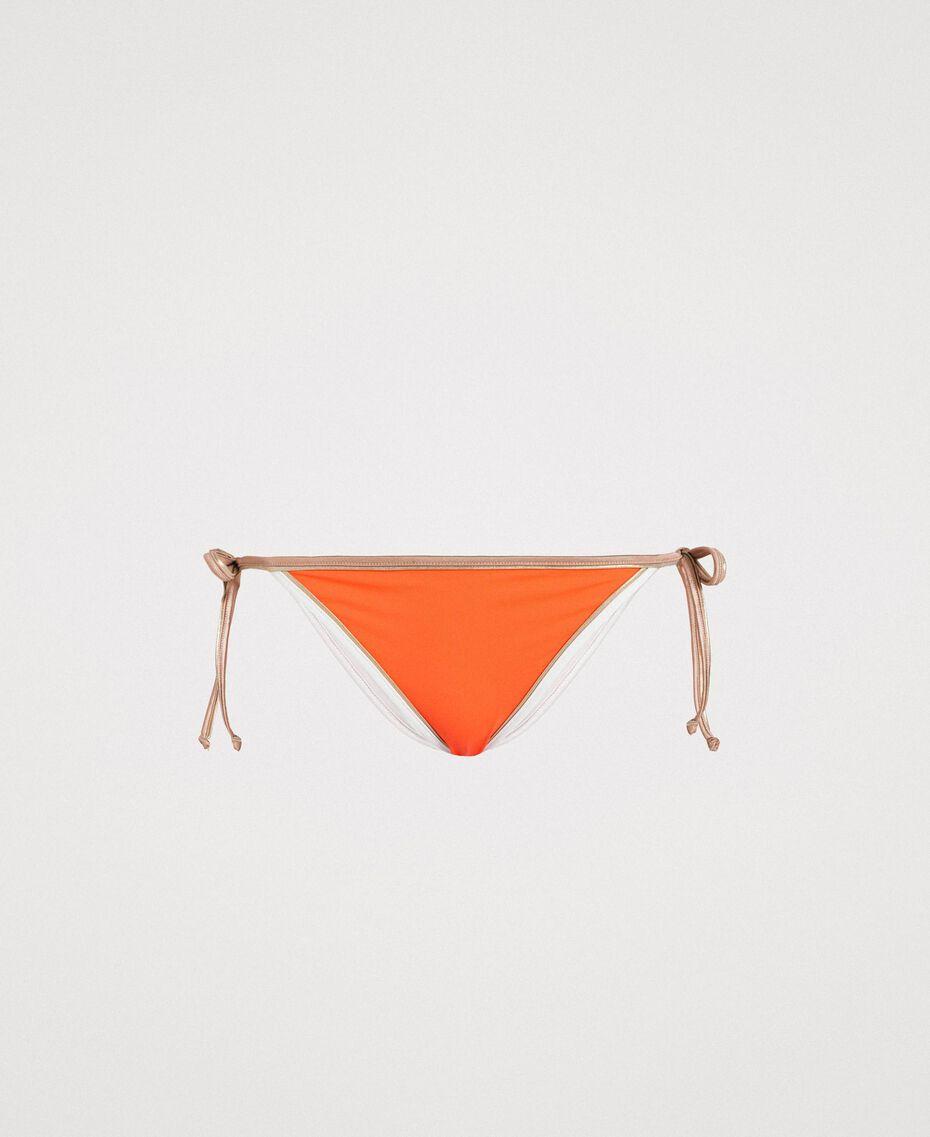 "Brazilian-Bikinihose mit Kontrasträndern Multicolour ""Orange Juice"" / ""Milkyway"" Beige / ""Petra Sandstone"" Braun Frau 191LMMH88-01"